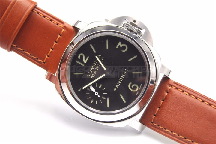 Panerai PAM 00111 Luminor Marina Mens Automatic Watch Brown Leather Strap