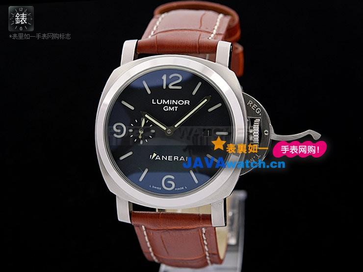 Panerai PAM 00320 Luminor GMT Mens Automatic Stainless Steel Black Swiss 7750(Brown)