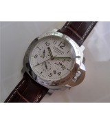 Panerai PAM 00236 Luminor Chronograph Daylight Mens Automatic Stainless Steel White Swiss 7750