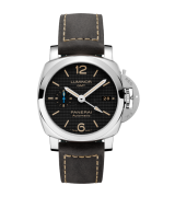 Panerai Luminor GMT Swiss Automatic Watch-Black Checkered Dial-Leather Bracelet PAM01535