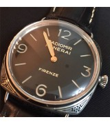 Panerai Radiomir Firenze PAM604 Swiss Automatic Watch-Stick Hour Markers Black Dial-Black Leather Strap