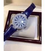 Franck Muller Swiss eta2824 Automatic Watch-Full Diamonds Dial Stick Hour Markers-Leather Bracelet
