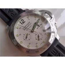 Luminor Daylight White Dial Automatic Panerai Watch Black Rubber Strap