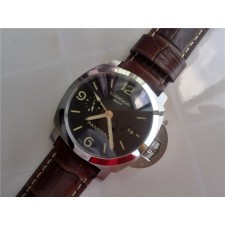 Luminor GMT 44mm Black Dial Automatic Panerai Watch Brown Leather